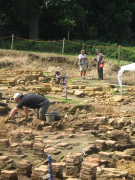 Excavation of foundation remains